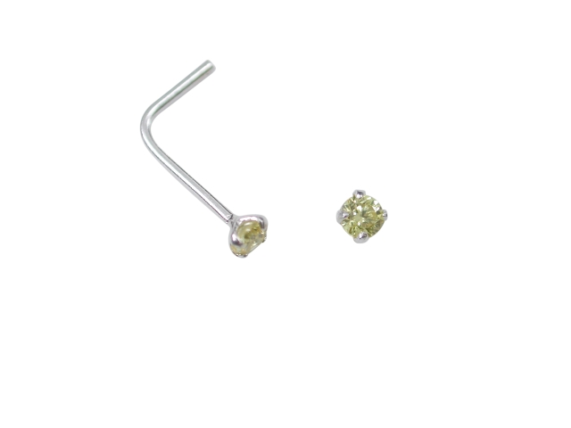 Sterling Silver L Shaped Prong Set Yellow Cubic Zirconia Nose Stud (november)