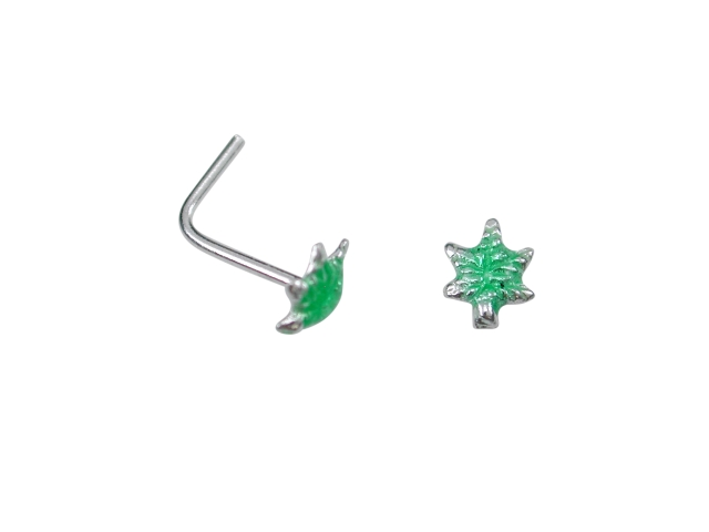 Sterling Silver L Shaped Green Leaf Nose Stud