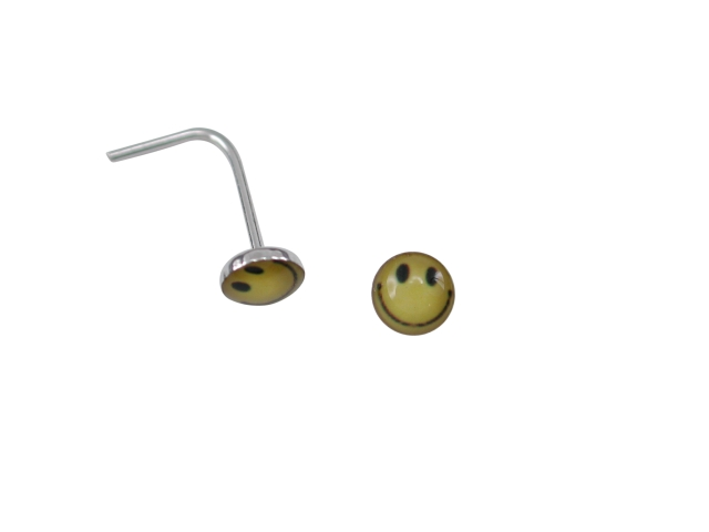 Sterling Silver L Shaped Yellow Smiley Face Nose Stud
