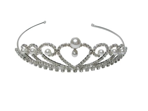 Silver Plated 33mm White Crystal & Pearl Tiara