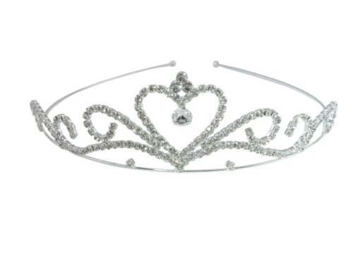 Silver Plated 35x130mm White Crystal Tiara