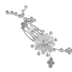 Silver Plated White Crystal Flower Hair Comb