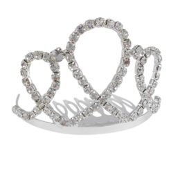 Silver Plated 50x70mm Small White Crystal Comb Tiara