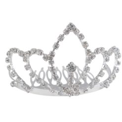 Silver Plated 45x70mm Small White Crystal Comb Tiara