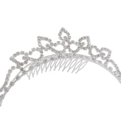 Silver Plated 130x30mm White Crystal Comb Tiara