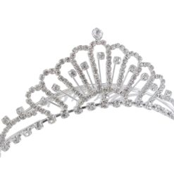 Silver Plated 120x40mm White Crystal Comb Tiara