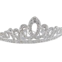 Silver Plated 90x34mm White Crystal Comb Tiara
