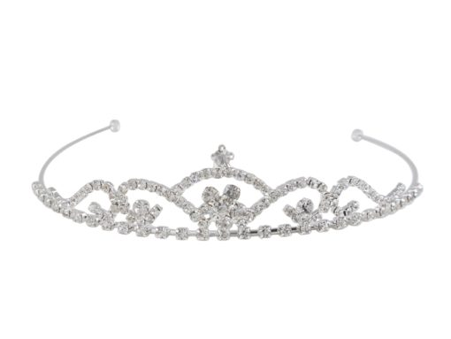 Silver Plated 25x130 White Crystal Tiara