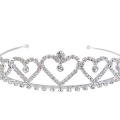 Silver Plated 27x125mm White Crystal Tiara