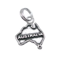 Sterling Silver 12mm Map Of Australia Charm With Split Ring