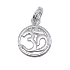 Sterling Silver 12mm Aum Charm With Split Ring