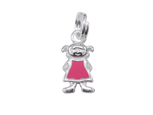 Sterling Silver 12mm Pink Enamel Girl Charm With Split Ring