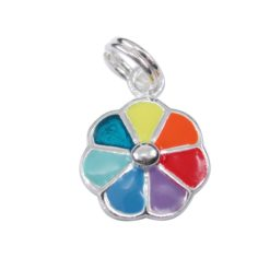 Sterling Silver 12mm Rainbow Charm With Split Ring