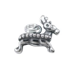 Sterling Silver 15x13mm Reindeer Charm With Split Ring