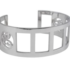 Stainless Steel 26mm Good Luck & Butterfly Cuff Bangle
