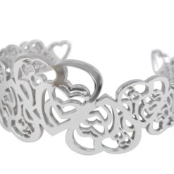 Stainless Steel 32mm Filigree Hearts Cuff Bangle