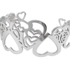 Stainless Steel 32mm Hearts Cuff Bangle 62x55mm