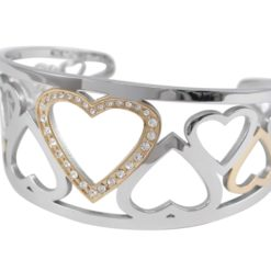 Stainless Steel & Gold Ip 32mm White Crystal Heart Cuff Bangle