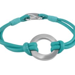 Stainless Steel 22mm Circle & Turquoise Leather Bracelet 19cm
