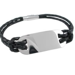 Stainless Steel 42x15mm And Black Leather Id Bracelet