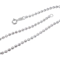 Sterling Silver 2.5mm Faceted Ball Bracelet 19cm
