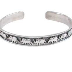 Sterling Silver 8mm Elephant Cuff Bangle 57x45mm