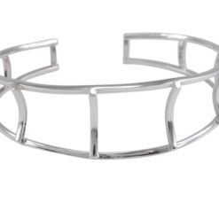 Sterling Silver 18mm Lattice Style Cuff Bangle