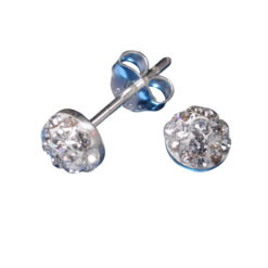 Sterling Silver 5mm White Crystal Half Ball Stud Earrings