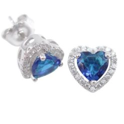 Sterling Silver 9mm Blue Cubic Zirconia Heart Stud Earrings