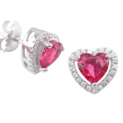 Sterling Silver 9mm Red Cubic Zirconia Heart Stud Earrings