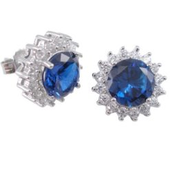 Sterling Silver 12mm Round Blue Cubic Zircoina Stud Earrings