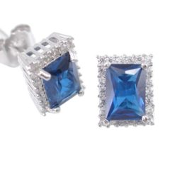 Sterling Silver 9x7mm Blue & White Cubic Zirconia Rectangle Stud Earrings