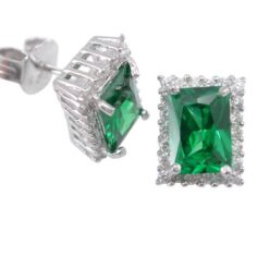 Sterling Silver 9x7mm Green & White Cubic Zirconia Rectangle Stud Earrings