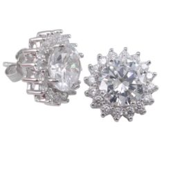 Sterling Silver 12mm Round White Cubic Zircoina Stud Earrings