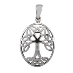 Sterling Silver 22x17mm Oval Celtic Tree Of Life Pendant