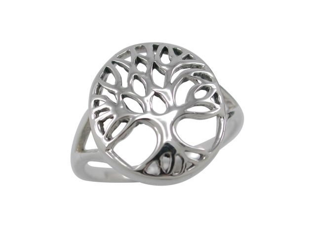Sterling Silver 15mm Oval Tree Of Life Ring