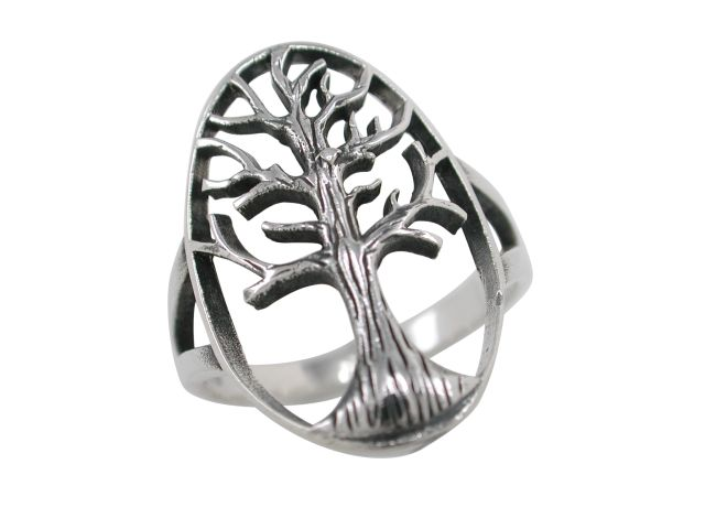 Sterling Silver 22mm Oval Tree Of Life Ring
