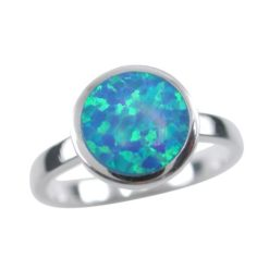 Sterling Silver 9.5mm Round Synthetic Opal Ring