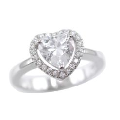 Sterling Silver 9mm White Cubic Zirconia Heart Ring