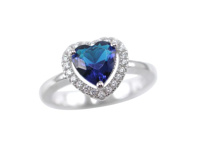 Sterling Silver 9mm Blue Cubic Zirconia Heart Ring