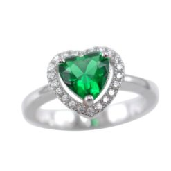 Sterling Silver 9mm Green Cubic Zirconia Heart Ring