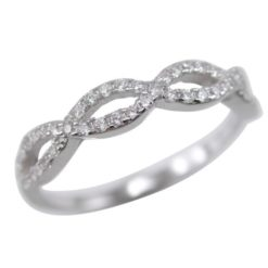 Sterling Silver 3.5mm White Cubic Zirconia Infinity Ring