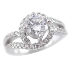 Sterling Silver 10mm Round White Cubic Zirconia Crossover Ring