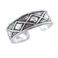 Sterling Silver 5.5mm Diamond Pattern Toe Ring