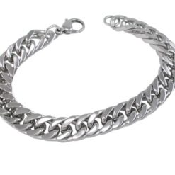 Stainless Steel 10mm Heavy Flatened Curb Link Bracelet