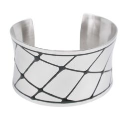 Stainless Steel 38mm Black Enamel Crisscross Pattern Cuff Bangle