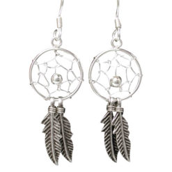 Sterling Silver 30x14mm Double Feather Dream Catcher Drop Earrings