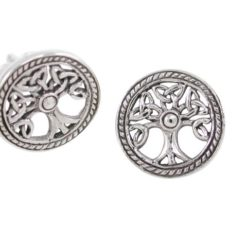 Sterling Silver 13mm Celtic Tree Of Life Stud Earrings