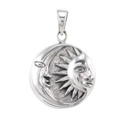 Sterling Silver 21mm Sun And Moon Pendant