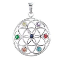 Sterling Silver 28mm Multi Colour Cubic Zirconia Chakra Pendant